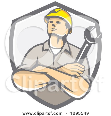 Retro Caucasian Male Construction or Builder Worker with Folded Arms and a Wrench in a Gray Shield Posters, Art Prints