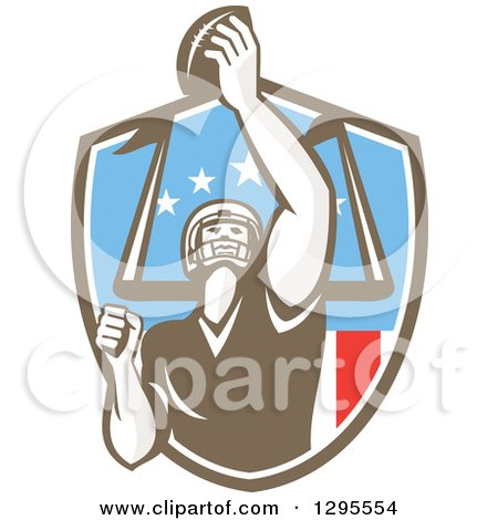 Clipart Of A Retro American Football Player Scoring A Touchdown In An American Shield Royalty Free Vector Illustration