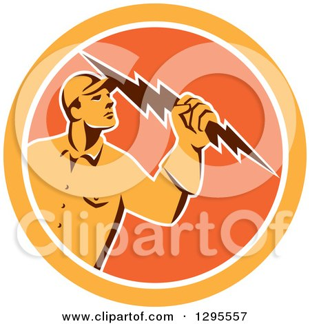 Clipart of a Retro Male Electrician Holding a Lightning Bolt in an Orange and White Circle - Royalty Free Vector Illustration by patrimonio