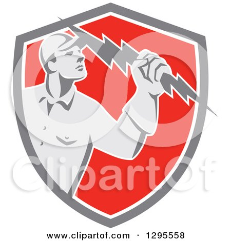 Clipart of a Retro Male Electrician Holding a Lightning Bolt in a Gray White and Red Shield - Royalty Free Vector Illustration by patrimonio