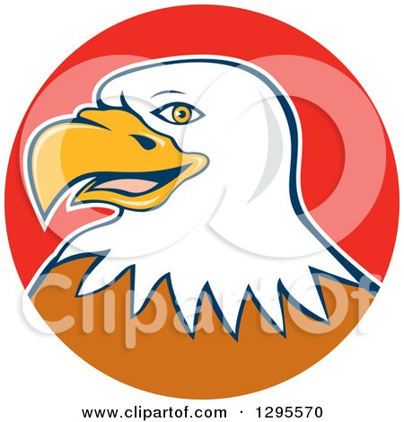 Clipart of a Cartoon Bald Eagle Head in a Red Circle - Royalty Free Vector Illustration by patrimonio