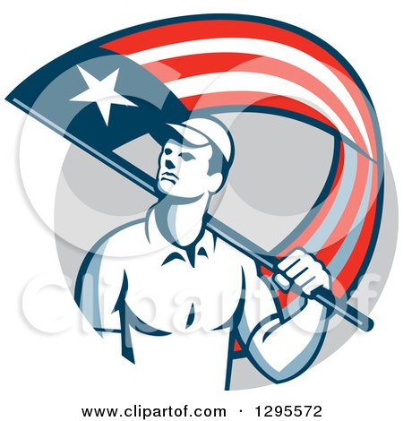 Clipart of a Retro Male Handyman Walking with an American Themed Flag over His Shoulder, in a Gray Circle - Royalty Free Vector Illustration by patrimonio