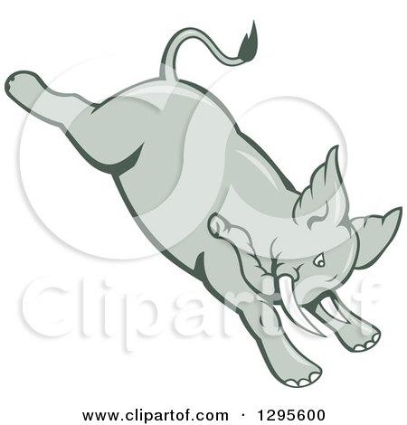 Clipart of a Retro Cartoon Angry Elephant Bucking - Royalty Free Vector Illustration by patrimonio