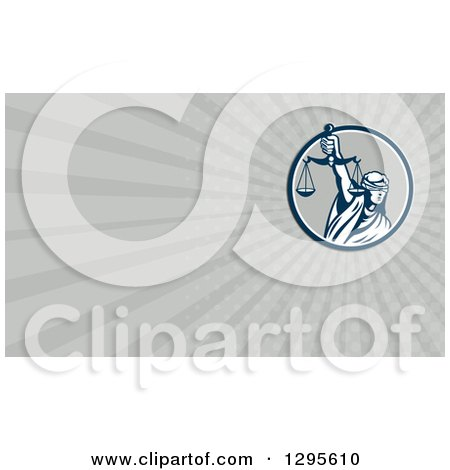 Clipart of a Retro Lady Justice with Scales and Gray Rays Background or Business Card Design - Royalty Free Illustration by patrimonio