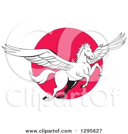 Clipart of a Cartoon White Flying Winged Pegasus Horse over a Pink Circle - Royalty Free Vector Illustration by patrimonio