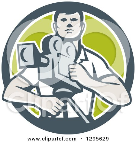 Clipart of a Retro Male Cameraman in a Gray White and Green Circle - Royalty Free Vector Illustration by patrimonio
