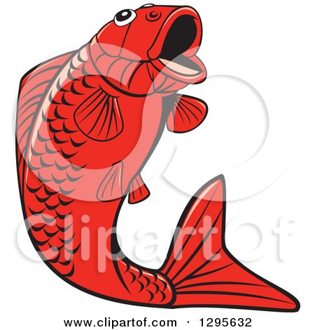 Clipart of a Jumping Black and Red Koi Fish - Royalty Free Vector Illustration by patrimonio