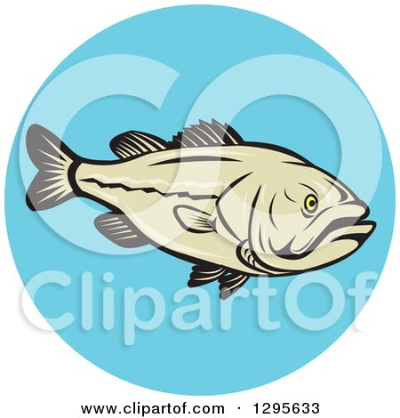 Clipart of a Cartoon Largemouth Bass Fish in a Blue Circle - Royalty Free Vector Illustration by patrimonio