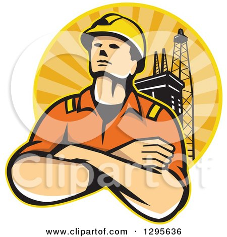 Clipart of a Retro Male off Shore Worker and Oil Platform in a Circle of Orange Sunshine - Royalty Free Vector Illustration by patrimonio