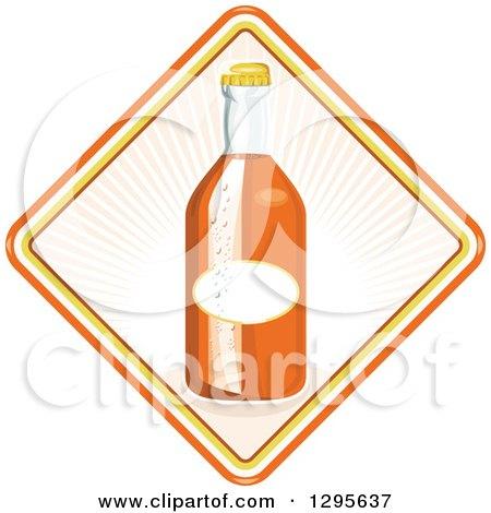 Clipart of a Retro Glass Orange Soda Bottle in a Diamond - Royalty Free Vector Illustration by patrimonio