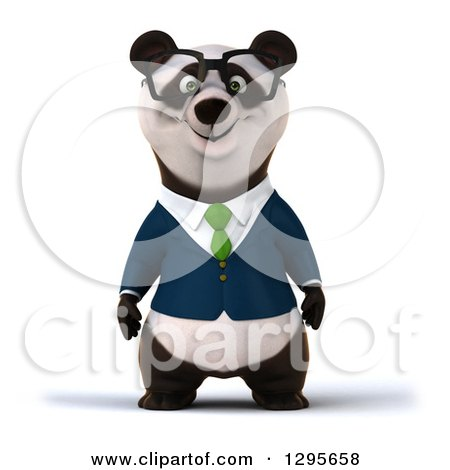 Clipart of a 3d Bespectacled Business Panda - Royalty Free Illustration by Julos