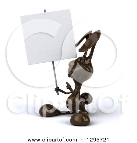 Clipart of a 3d Dark Chocolate Easter Bunny Rabbit Holding and Pointing to a Blank Sign - Royalty Free Illustration by Julos