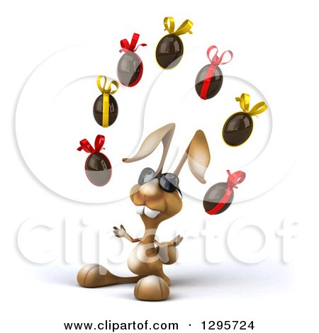 Clipart of a 3d Brown Bunny Rabbit Wearing Sunglasses, Facing Slightly Left and Juggling Chocolate Easter Eggs - Royalty Free Illustration by Julos