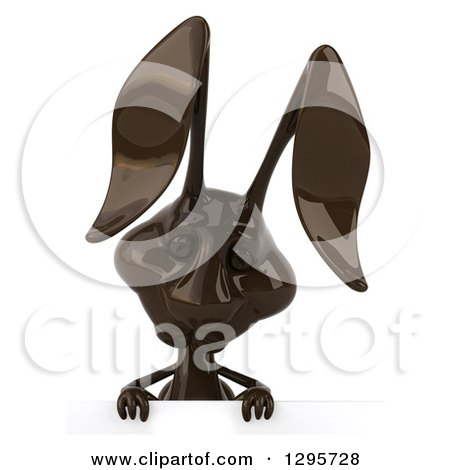 Clipart of a 3d Dark Chocolate Easter Bunny Rabbit Looking down over a Sign - Royalty Free Illustration by Julos