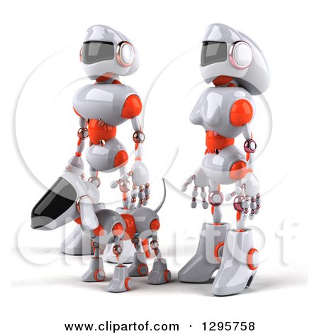 Clipart of a 3d White and Orange Robot Couple and Dog Facing Left - Royalty Free Illustration by Julos