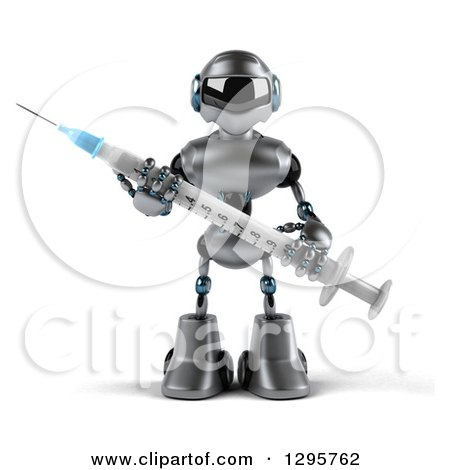 Clipart of a 3d Silver Male Techno Robot Holding a Vaccination Syringe - Royalty Free Illustration by Julos