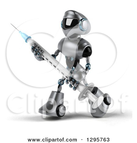 Clipart of a 3d Silver Male Techno Robot Walking to the Left and Holding a Vaccination Syringe - Royalty Free Illustration by Julos