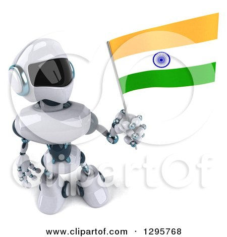 Clipart of a 3d White and Blue Robot Holding up an Indian Flag - Royalty Free Illustration by Julos