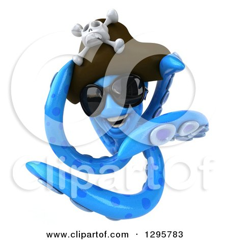 Clipart of a 3d Happy Blue Pirate Octopus Wearing Sunglasses and Swimming 3 - Royalty Free Illustration by Julos