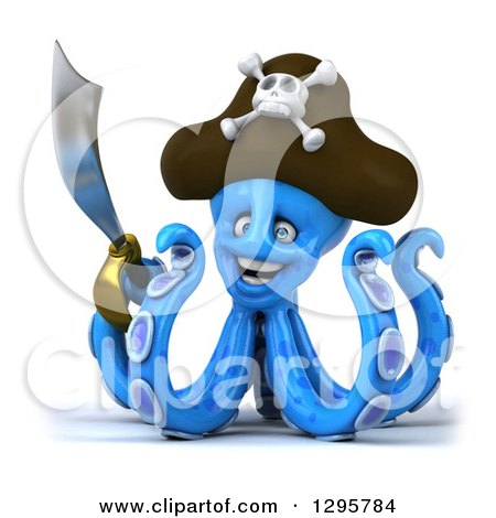 Clipart of a 3d Happy Blue Pirate Octopus Holding a Sword - Royalty Free Illustration by Julos