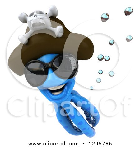 Clipart of a 3d Happy Blue Pirate Octopus Wearing Sunglasses and Swimming - Royalty Free Illustration by Julos