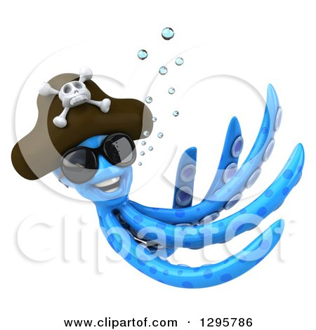 Clipart of a 3d Happy Blue Pirate Octopus Wearing Sunglasses and Swimming 2 - Royalty Free Illustration by Julos