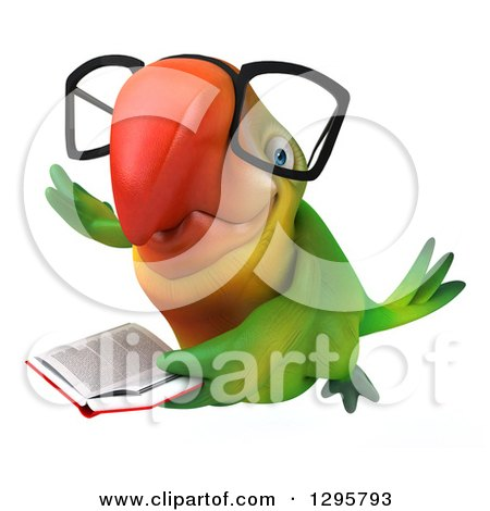 Clipart of a 3d Bespectacled Green Macaw Parrot Flying and Holding a Book - Royalty Free Illustration by Julos