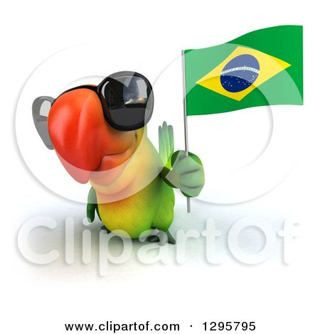 Clipart of a 3d Green Macaw Parrot Wearing Sunglasses and Holding up a Brazil Flag - Royalty Free Illustration by Julos