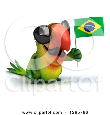 Clipart of a 3d Green Macaw Parrot Wearing Sunglasses, Facing Slightly Right and Holding a Brazil Flag - Royalty Free Illustration by Julos