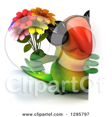 Clipart of a 3d Green Macaw Parrot Wearing Sunglasses and Holding a Bouquet of Flowers Around a Sign - Royalty Free Illustration by Julos