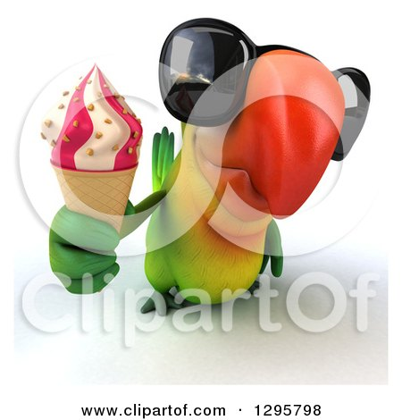 Clipart of a 3d Green Macaw Parrot Wearing Sunglasses and Holding up a Waffle Ice Cream Cone - Royalty Free Illustration by Julos