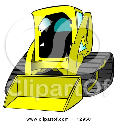 Bobcat Skid Steer Loader in Yellow With Blue Tinted Windows Posters, Art Prints