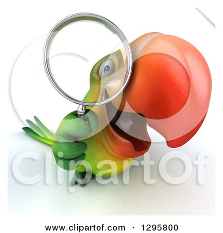 Clipart of a 3d Green Macaw Parrot Looking up and Searching Through a Magnifying Glass - Royalty Free Illustration by Julos