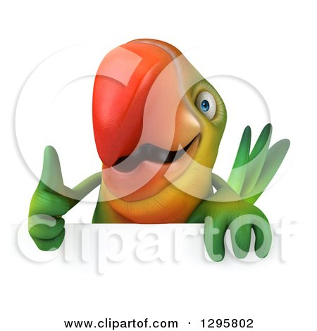 Clipart of a 3d Green Macaw Parrot Holding a Thumb up over a Sign - Royalty Free Illustration by Julos