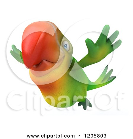 Clipart of a 3d Green Macaw Parrot in Flight - Royalty Free Illustration by Julos
