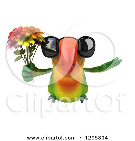 Clipart of a 3d Green Macaw Parrot Wearing Sunglasses and Flying with a Bouquet of Flowers - Royalty Free Illustration by Julos