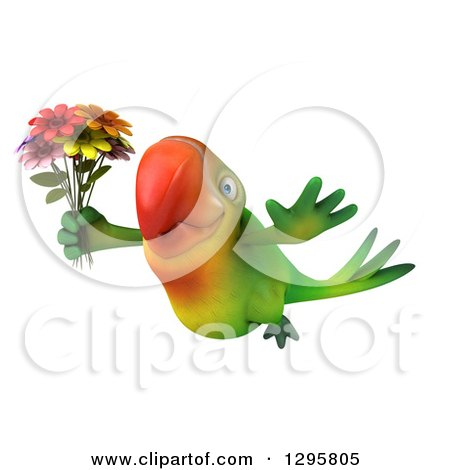 Clipart of a 3d Green Macaw Parrot Wearing Sunglasses and Flying with a Bouquet of Colorful Flowers - Royalty Free Illustration by Julos