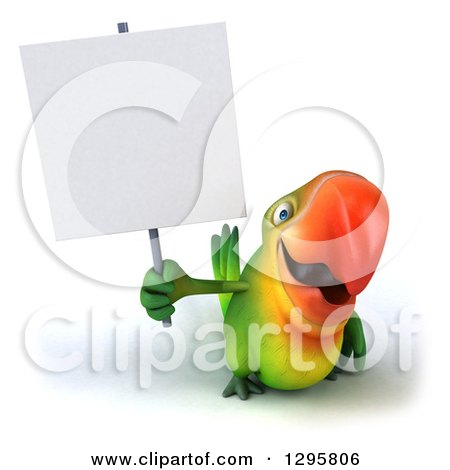 Clipart of a 3d Green Macaw Parrot Holding up a Blank Sign - Royalty Free Illustration by Julos