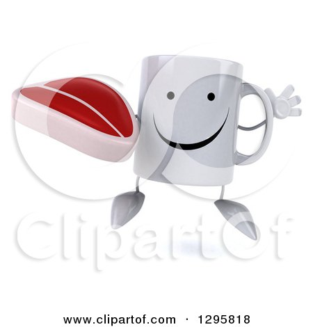 Clipart of a 3d Happy Coffee Mug Jumping and Holding a Beef Steak - Royalty Free Illustration by Julos