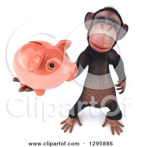 Clipart of a 3d Chimpanzee Holding up a Piggy Bank - Royalty Free Illustration by Julos