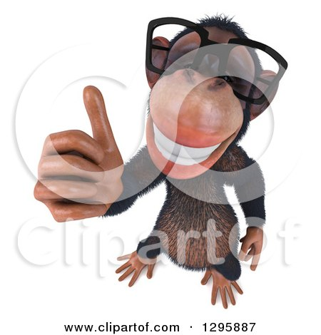 Clipart of a 3d Bespectacled Chimpanzee Holding a Thumb up - Royalty Free Illustration by Julos