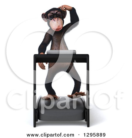Clipart of a 3d Bespectacled Chimpanzee Walking on a Treadmill - Royalty Free Illustration by Julos