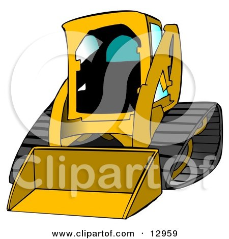 Dark Yellow Bobcat Skid Steer Loader With Blue Window Tint Clipart Graphic Illustration by djart