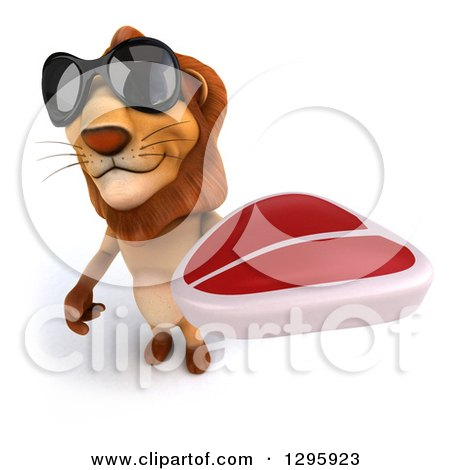 Clipart of a 3d Male Lion Wearing Sunglasses and Holding up a Beef Steak - Royalty Free Illustration by Julos