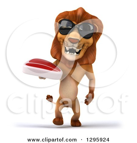 Clipart of a 3d Male Lion Wearing Sunglasses and Walking with a Beef Steak - Royalty Free Illustration by Julos