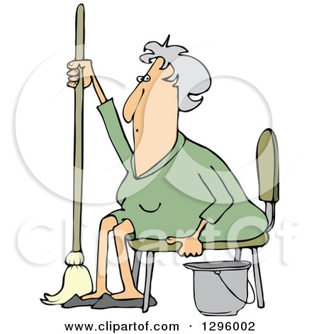 Clipart of a Tired or Lazy Sitting Senior White Woman with a Mop and Bucket - Royalty Free Vector Illustration by djart