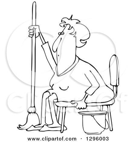 Clipart of a Black and White Tired or Lazy Sitting Senior Woman with a Mop and Bucket - Royalty Free Vector Illustration by djart