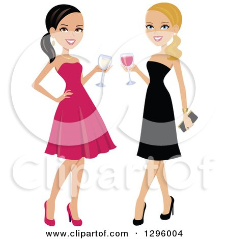 Clipart of Beautiful Brunette and Blond Caucasian Women Toasting with Red and White Wine - Royalty Free Vector Illustration by Monica