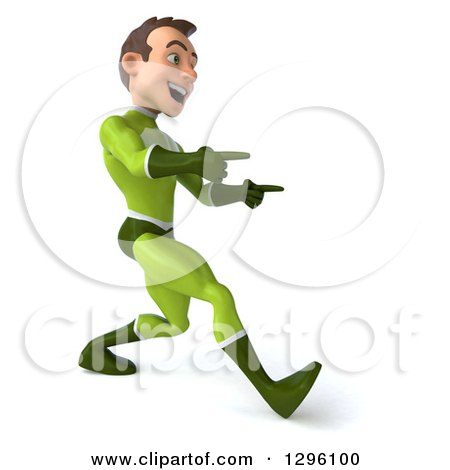 Clipart of a 3d Young Brunette White Male Super Hero in a Green Suit, Walking to the Right and Pointing - Royalty Free Illustration by Julos