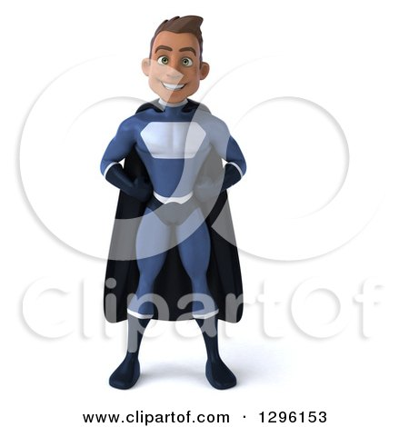 Clipart of a 3d Young Indian Male Super Hero Dark Blue Suit, with Hands on Hips - Royalty Free Illustration by Julos
